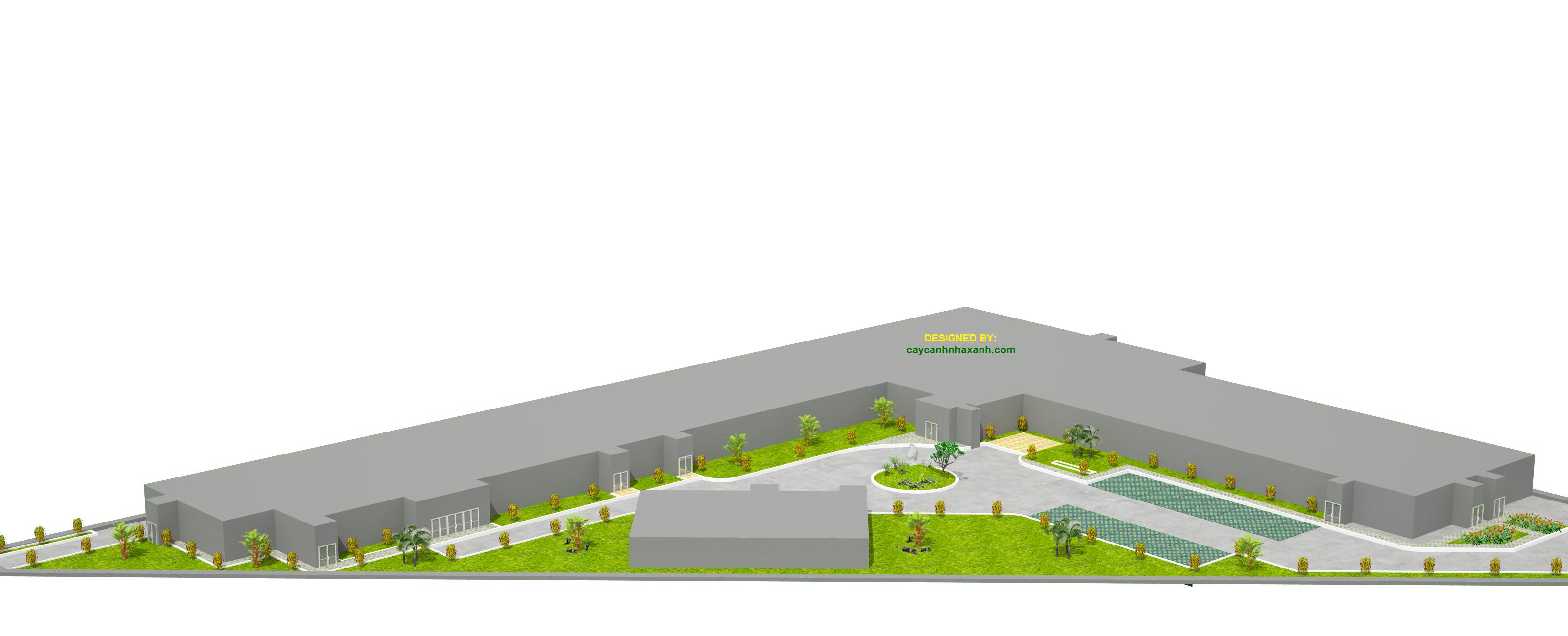 Thiết kế mảng cây xanh nhà máy điện BT