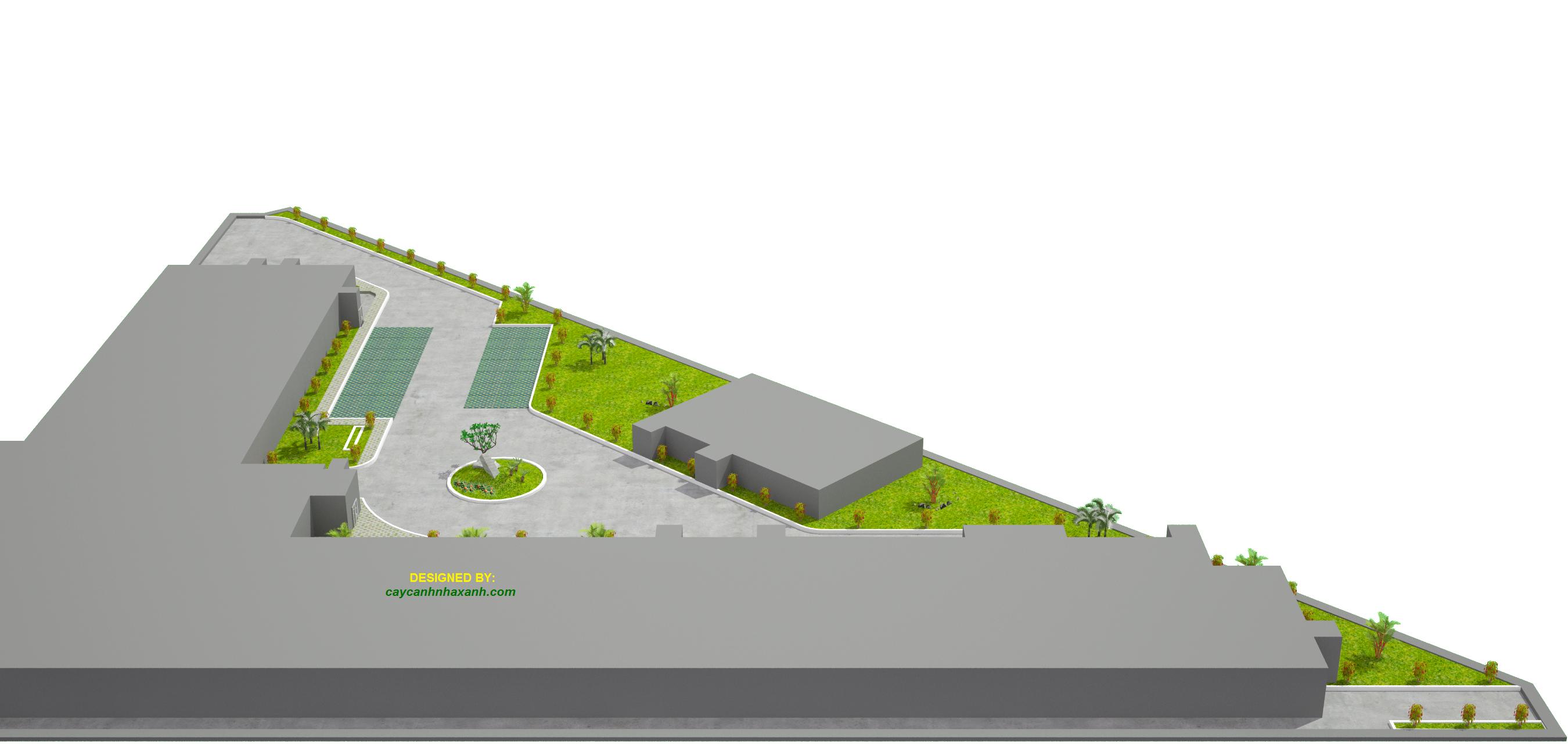 Thiết kế 3D cảnh quan cây xanh nhà máy điện BT