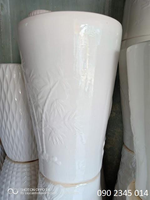 856 - Chậu sứ trắng  45 x 65