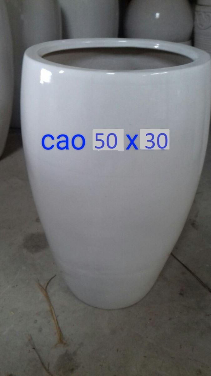 817 - Chậu sứ trắng trơn 30 x 50