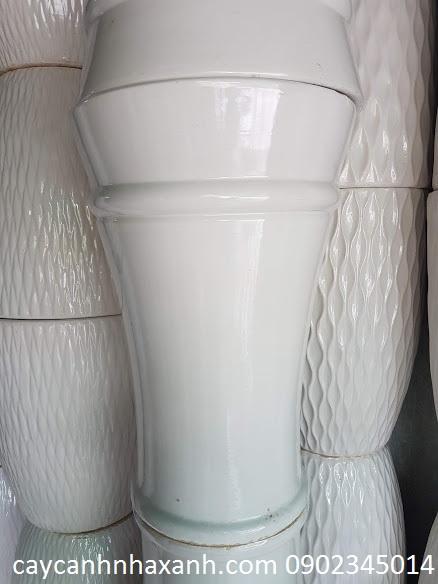 846  - Chậu sứ trắng 1 viền 40 x 60